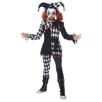 Kids Creepy Jester Girl Harley Quinn Costume