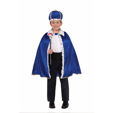 kids king royal blue robe and crown costume kit