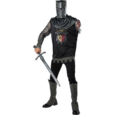 Mens Black Knight Zombie Medieval Costume