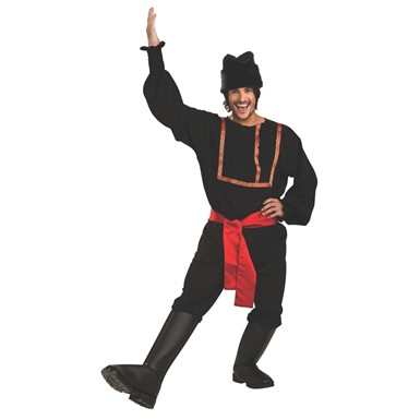 Mens Black Traditional Russian Halloween Costume