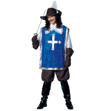 Mens Blue Musketeer Adult Costume Standard Size 42-46