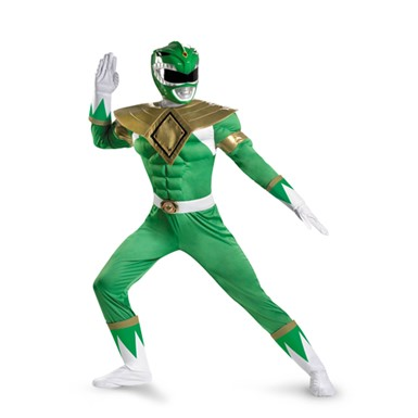 Mens Green Power Ranger Muscle Costume