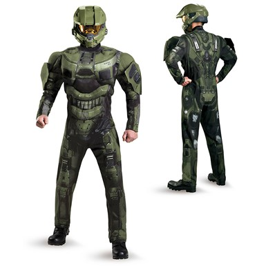 Mens Halo Deluxe Master Chief Muscle Costume