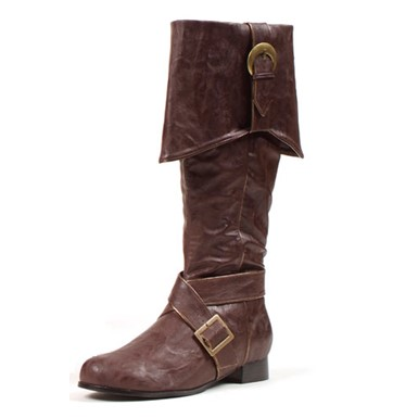 Mens Knee High Pirate Boots  Brown