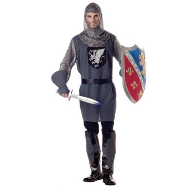 Mens Medieval Knight Costume - Grey