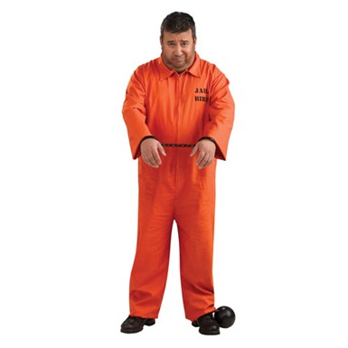 Mens Plus Size Prisoner Orange Jumpsuit Costume 46-52