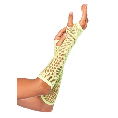 Neon Green Fishnet Fingerless Elbow Gloves for Costume