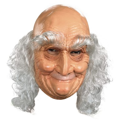 Old Man Adult Vinyl Full Mask for Costume