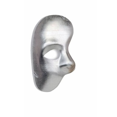 Phantom Silver Half Mask Halloween Costume Accessory