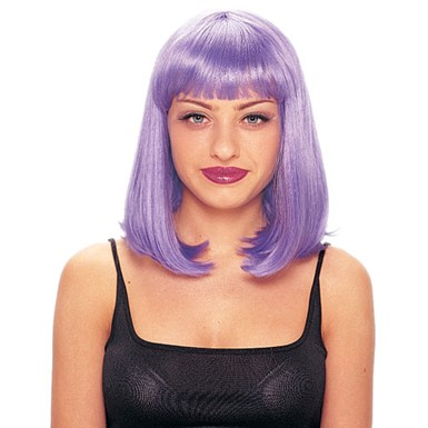 purple short singing star halloween costume wig