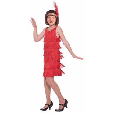 Red Girls Flapper Halloween Costume