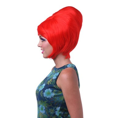 red womens beehive halloween costume wig