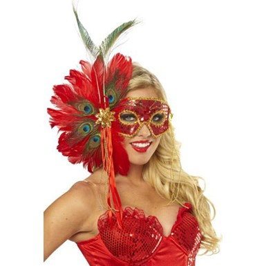Spanish Peacock Red Feather Mask Costume Accessory