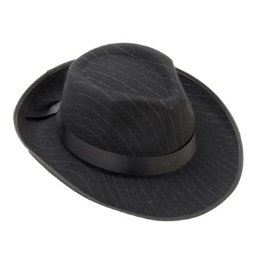 Striped Fedora Hat - Black Pin Striped