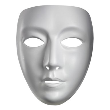White Blank Female Mask for Halloween Costume