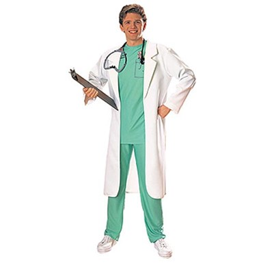 White Lab Coat Doctor Surgeon Adult Costume