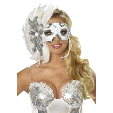 White Masquerade Feather Mask Costume Accessory