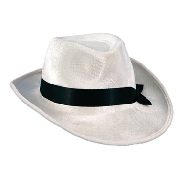 White Velour Gangster Hat
