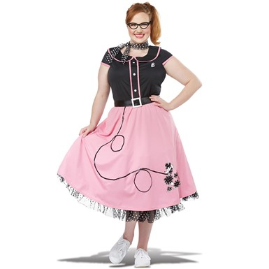 Womens 50's Sweetheart Plus Size Pink Poodle Skirt Costume