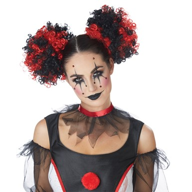 Womens Clown Puffs Black & Red Wig