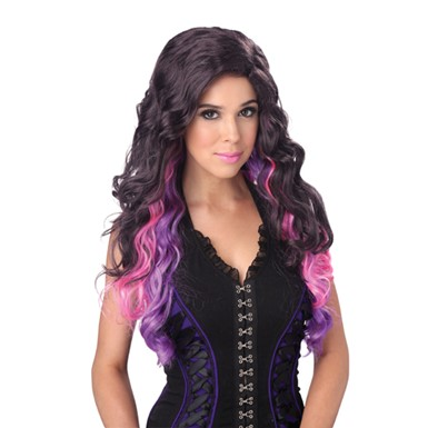 Womens Color Cascade Purple Pink Wig for Halloween
