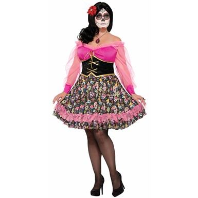 Womens Day of the Dead Plus Size Señorita Costume sz 18-22