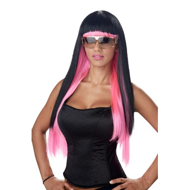 Womens Glam Black/Pink Diva Halloween Costume Wig