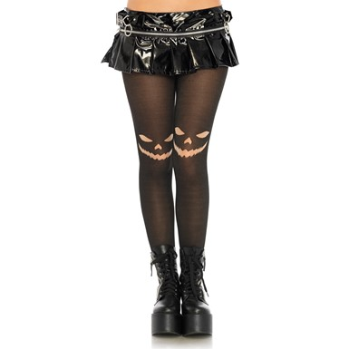 Womens Jack O' Lantern Opaque Black Tights