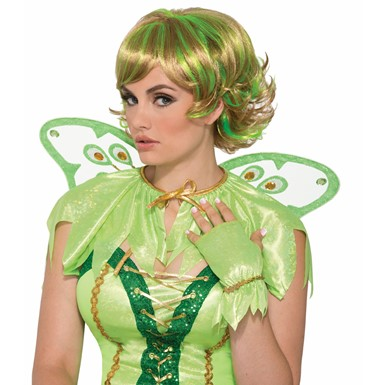 Womens Miss Pixie Fairy Blonde Green Wig