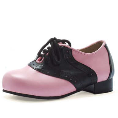 Womens Saddle Black And Pink Shoes