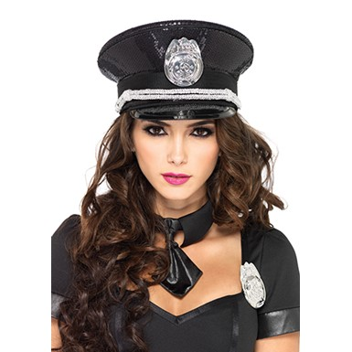 Womens Sequin Cop Hat Halloween Costume Accessory