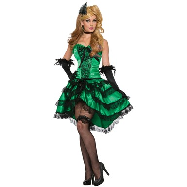 Womens Sexy Emerald Saloon Girl Costume size Standard 6-14