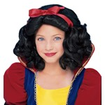 Snow White Black Wig with Ribbon for Halloween Costume