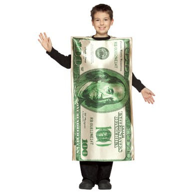 100 bill child money halloween costume size 7 10
