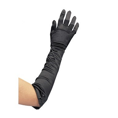 "19"" Black Satin Lycra Gloves Costume Accessory"