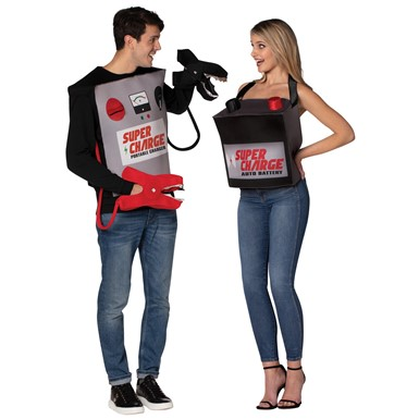 Adult Battery and Jumper Cables Couple Halloween Costume