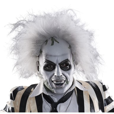 Adult Beetlejuice Deluxe Halloween Mask With Hair