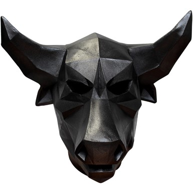 Adult Black Low Poly Bull Halloween Mask