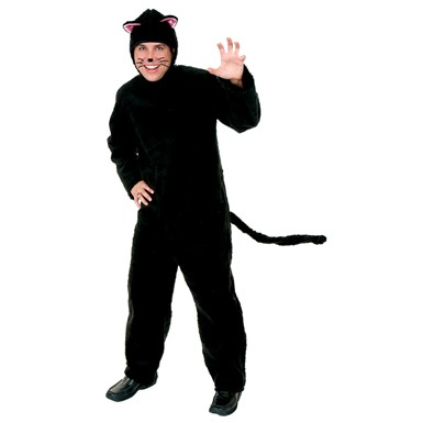 Adult Black Plush Cat Onesie Halloween Costume
