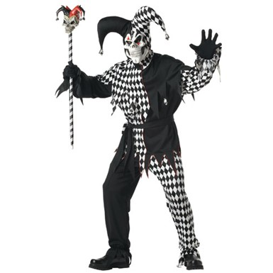 Adult Black/White Evil Jester Halloween Costume