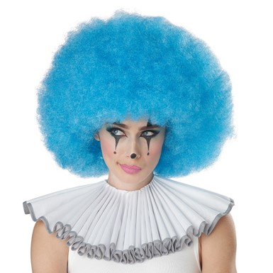 Adult Blue Jumbo Afro Wig for Clown Costume