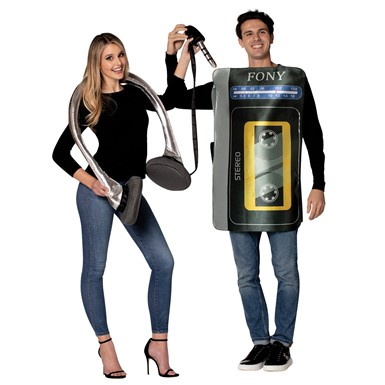 Adult Cassette Player and Headphone Set Halloween Costume