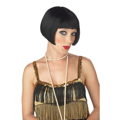 Adult Flirty Flapper Black Wig for Halloween Costume