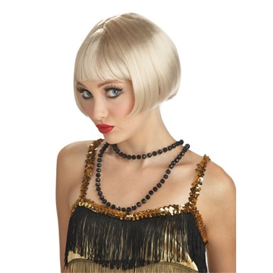Adult Flirty Flapper Blonde Wig for Halloween Costume