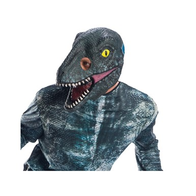 Adult Jurassic World Blue Velociraptor Dinosaur 3/4 Mask