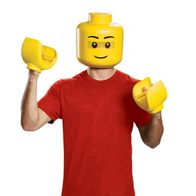 Adult LEGO Guy Mask & Hands Costume Kit