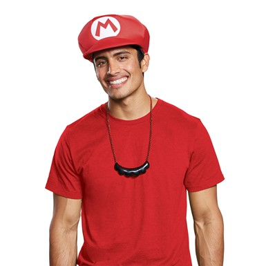 Adult Mario Hat & Mustache Necklace Costume Kit