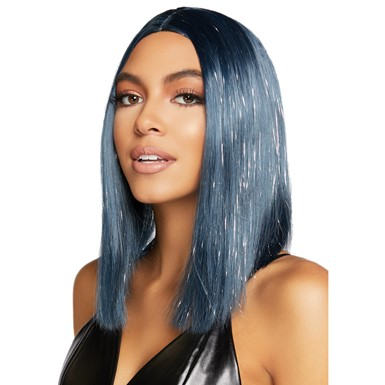 Adult Midnight Blue Long Bob Wig