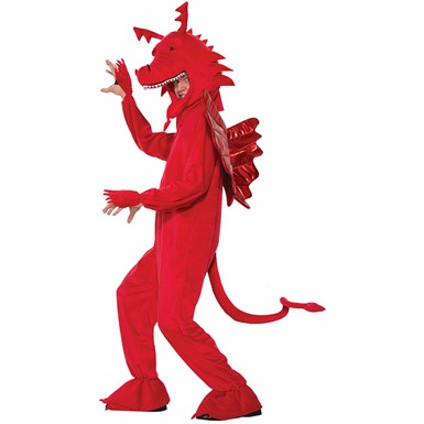 Adult Red Dragon Mascot Halloween Costume