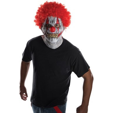 Adult Skullie Clown Costume Mask & Afro